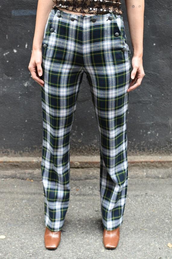 1990's Vintage Anna Sui Wool Plaid Pants with Sai… - image 3