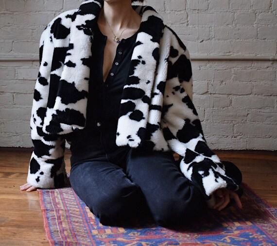 90's Cow Print Faux Fur Jacket
