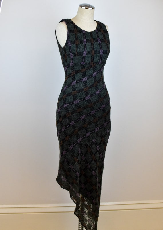 1990's Vintage Anna Sui Checkered Mohair Dress - image 6