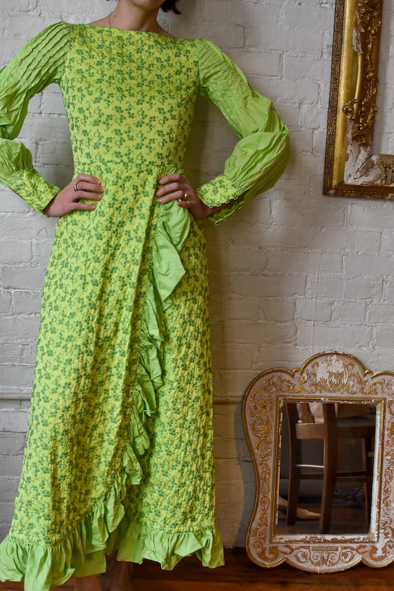 1970's   Lime Green Floral Embroidered Prairie Dre
