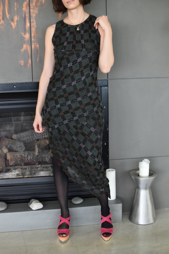 1990's Vintage Anna Sui Checkered Mohair Dress - image 2