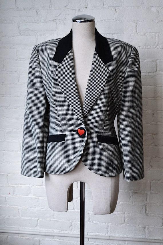 1990's Biba Checkered Heart Blazer