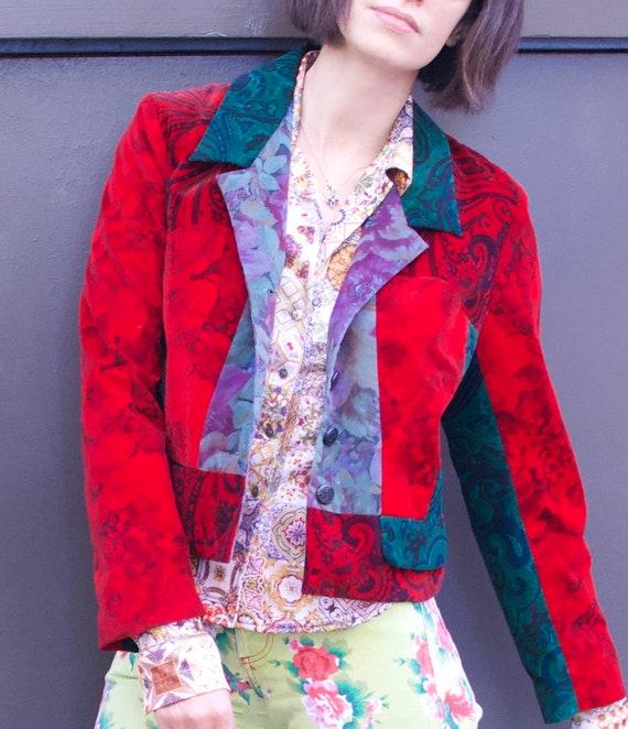 1990's Vintage Todd Oldham Velour Patchwork Jacket