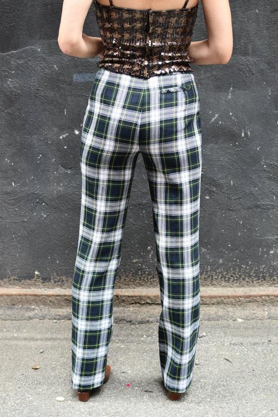 1990's Vintage Anna Sui Wool Plaid Pants with Sai… - image 2