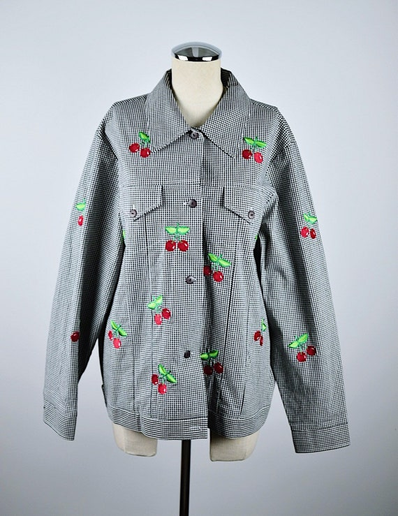 1990's Lightweight Gingham Jacket with Embroidered