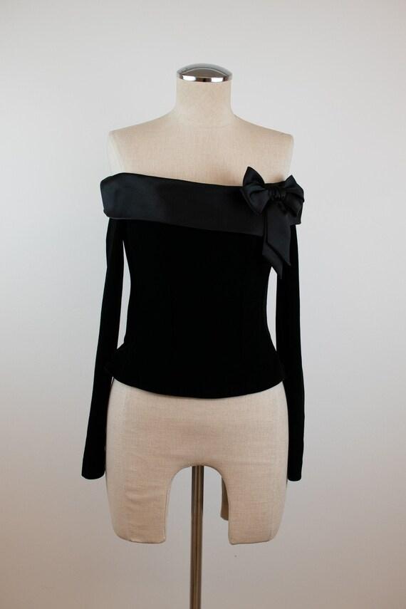 1990's Vintage Velvet off the Shoulder Corset Top