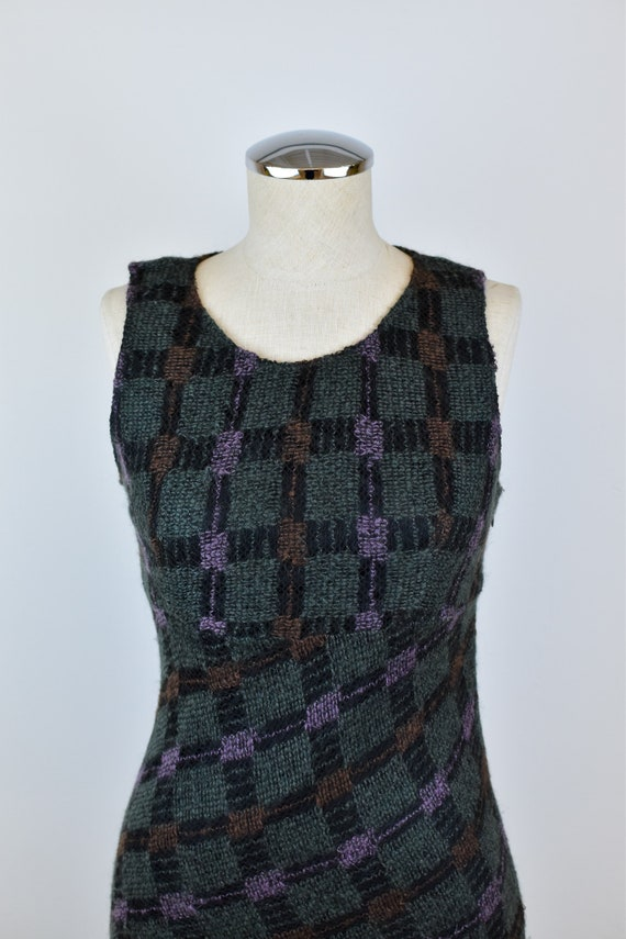1990's Vintage Anna Sui Checkered Mohair Dress - image 4