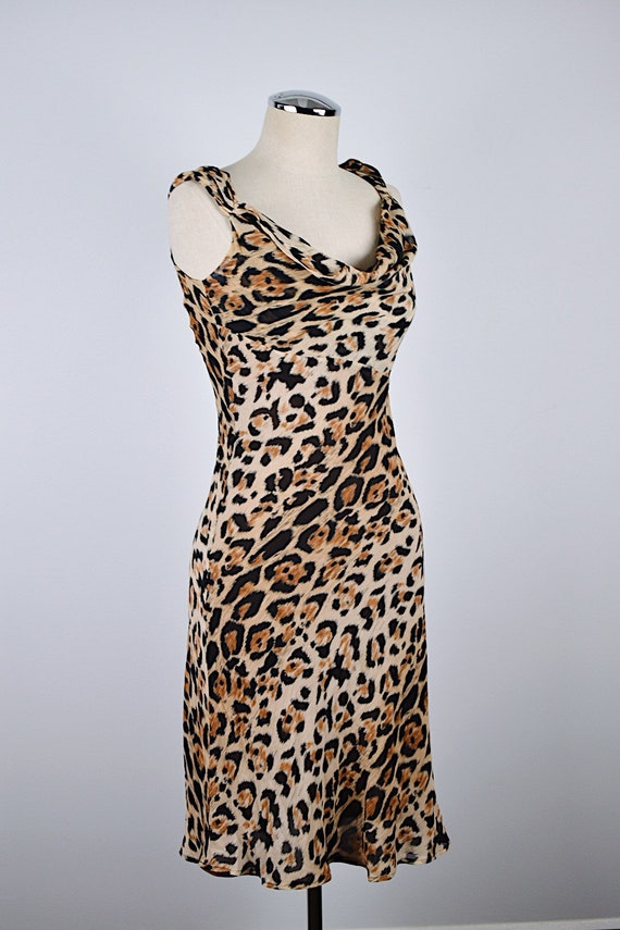 1990's Limited Silk Leopard Slip Dress - image 4