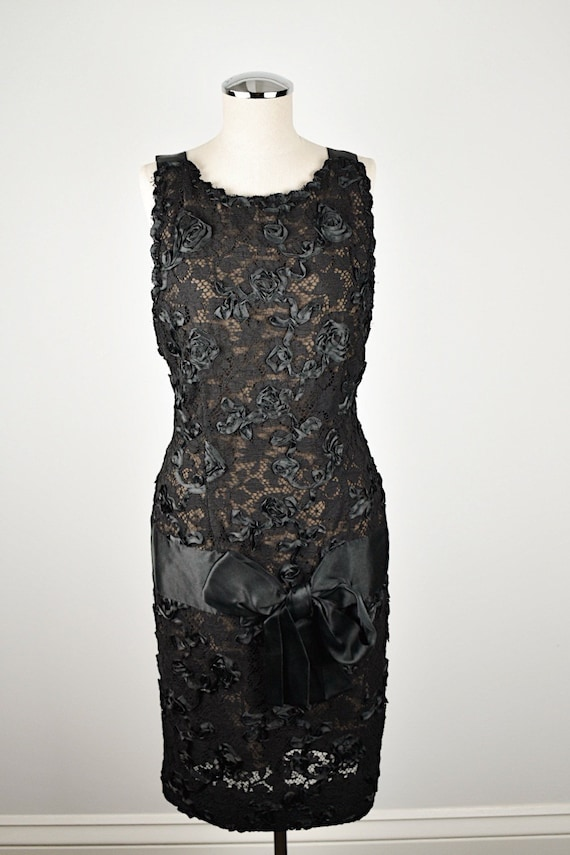 1980's Bill Blass Lace and Ribbon Dress