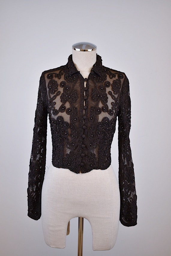 1990's Cache Mesh Beaded Top with Ribbon Detailing