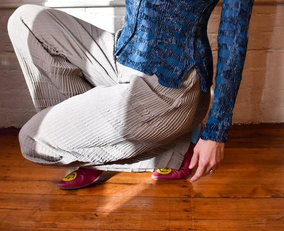 Y2K  Babette Pewter Plisse Pleated  Pants