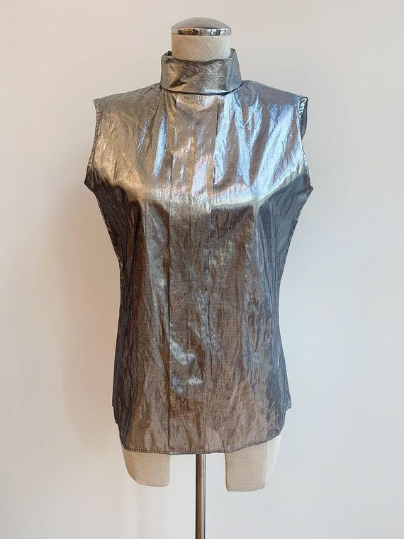 1980's Vintage Metallic Lame Silver Sleeveless Tur