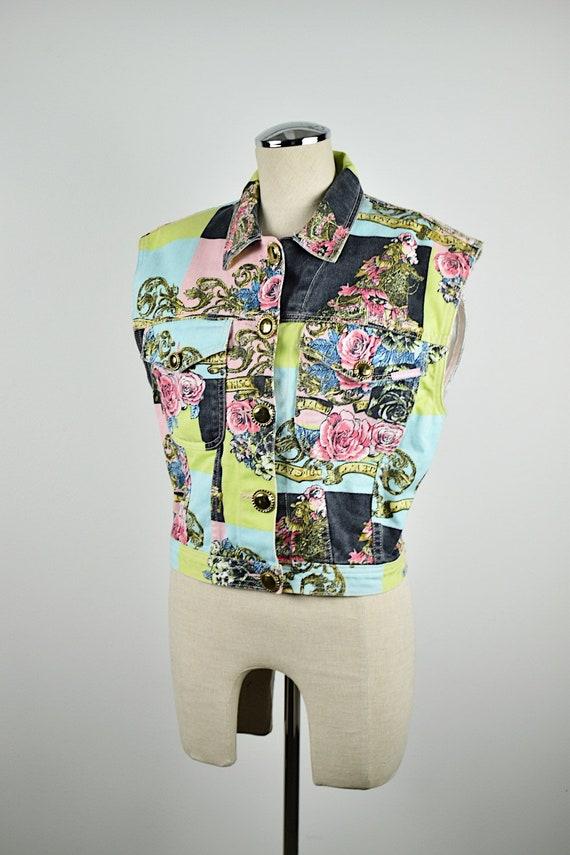 Vintage 1990's Jordache Colorful Denim Vest