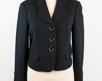 1990's / Y2K Vintage Moschino Cheap and Chic Black Blazer with Jump Rings