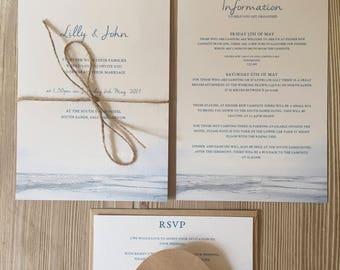 Fading Horizon Invitation Set. Invite, RSVP Card and Information Card