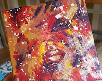 """Sealed Lips Original Abstract Acrylic Painting 8 x 8"""""""