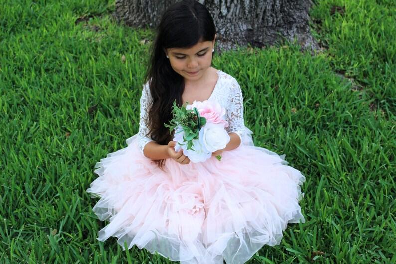 Blush Pink Flower Girl Dress- Tulle Flower Girl Dress Blush Tulle Flower Girl Dress- Tulle Dress Pink Flower Girl Dress Flower Girl
