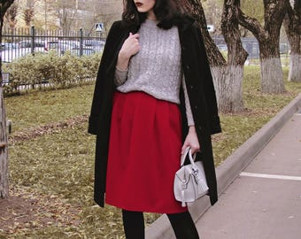Мidi skirt with folds red