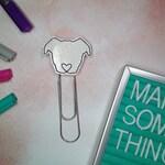 White glitter vinyl pit bull on jumbo paper clip - planner   *Limited Edition*