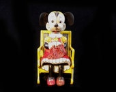 1950 39 s Disney Tin Litho Minnie Mouse Knitting In Rocking Chair Wind-Up Toy