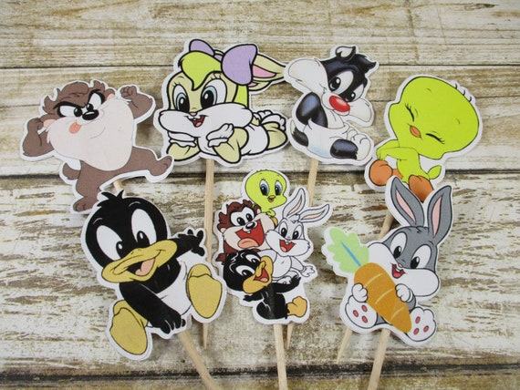 Baby Looney Tunes Cupcake Toppers Baby Looney Tunes Cupcake Etsy