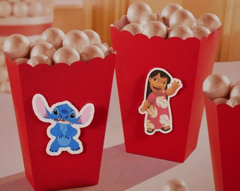 Popcorn Boxes, treat box, Treat Boxes, party supplies, Favor Box for Candy, Sweets,Treats,birthday party, candy box, Lilo & Stitch