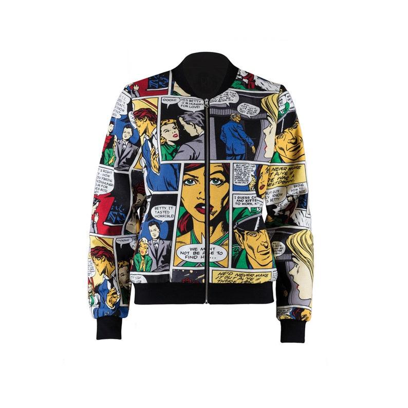 0e59cc0bbb2f1f Comic Print Bomberjacke/Blouson/Transitional jacket ladies | Etsy