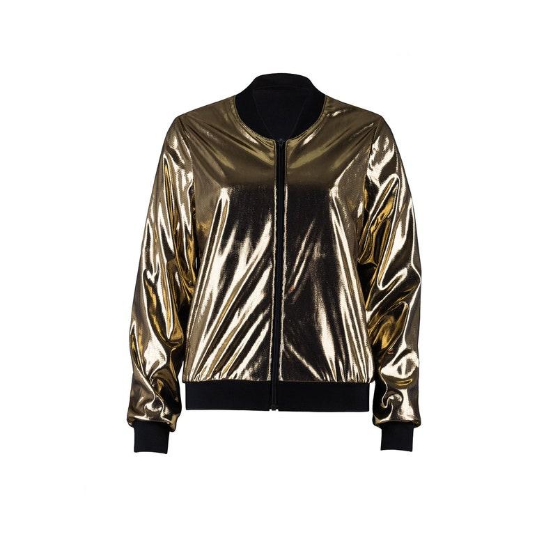 98df2dc8c503dd Jersey bomber Jacket/Blouson/transition Jacket-women gold | Etsy