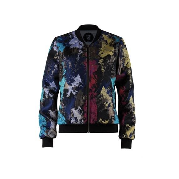 Bunte BomberjackeBlousonDamen, farbig gewebter Stoff mit Metallstreifen, handmade in Berlin, Jacke