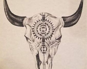 steer head print bull skull art native american art warrior etsy
