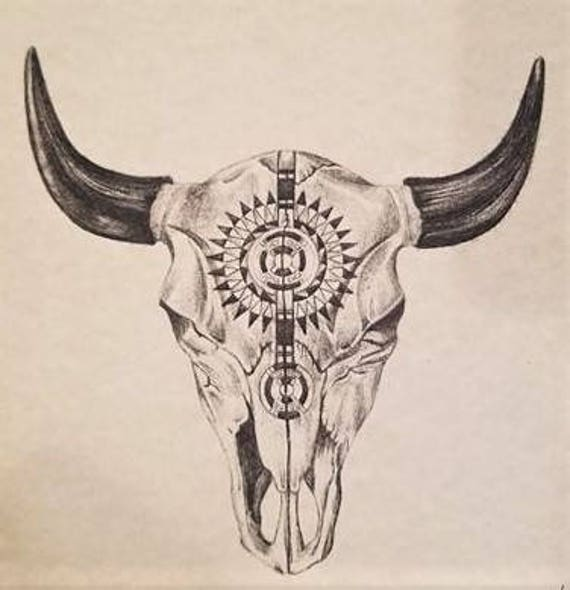 western skull pencil drawing western skull art bull skull etsy