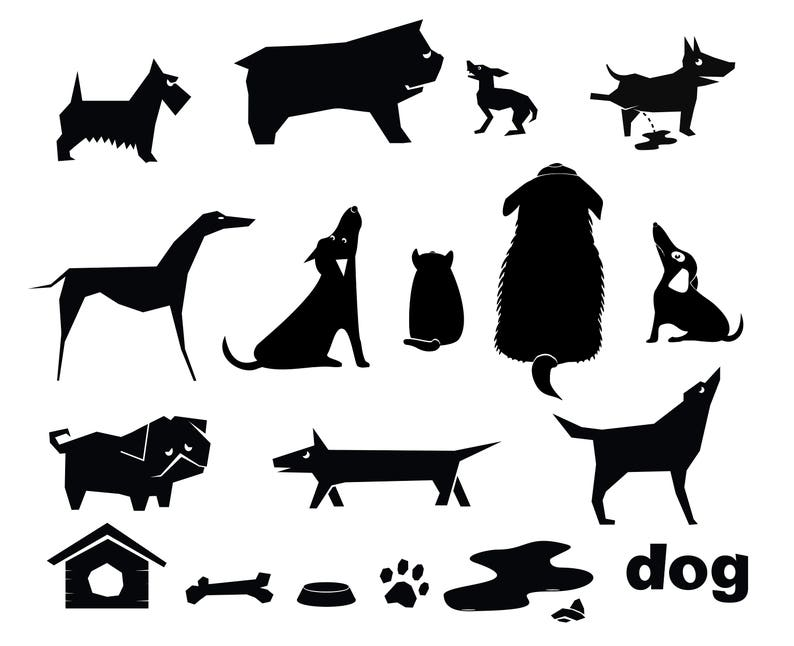 photograph relating to Printable Dog Stencils named Silhouettes stencils humorous pet dogs Electronic Stencils Cdr Dxf Ai Png Eps Information silhouette Chopping vector decor graphics Define symbols icons