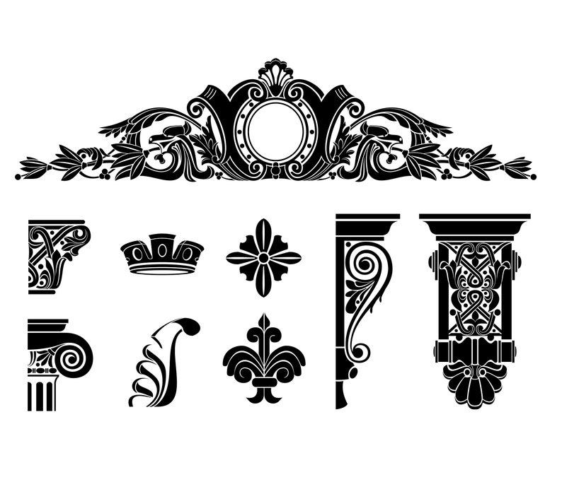 Set capitals column symbols vintage, vector silhouettes, eps, png, pdf  templates, sticker, emblem, logo, classic, architecture