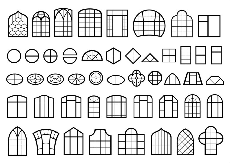 Set Windows symbols , doors, svg, facade, pdf ,vector silhouettes, eps,  png, templates, digital sticker, emblem, vintage