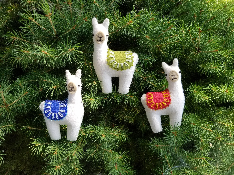 Hand Embroidered//Appliqued//Beaded Felt Ornament of a Black Llama//Alpaca