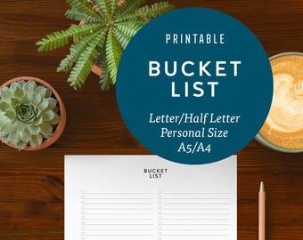 Bucket List Printable Planner Insert | Instant Download, Personal, A5, A4, Half Letter & Letter Sizes, Filofax, Kikki K