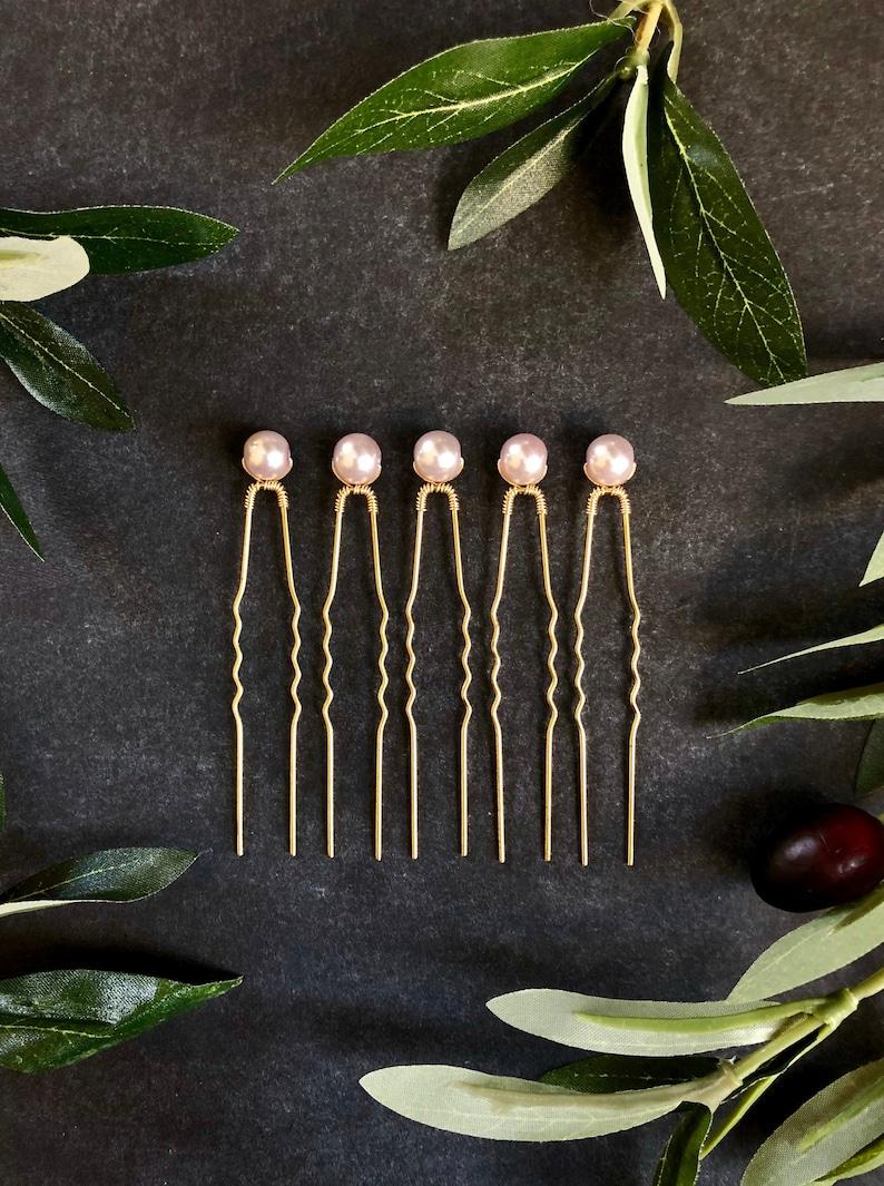 Bridal Headpiece Pale Violet Pearl Hairpins Gold Hairpiece Bridal Hairpins 3+ Up-do Pins Purple Wedding Pins Lilac Pearl Hair Pins