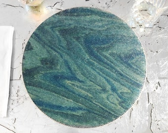 """Glass bead over teal - blue - turquoise wood chargers / round placemats -  silver gimp trim & felt backing -  12"""" diameter - single or set!"""
