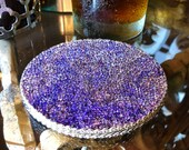Set of 4 Glass Bead Coasters hand-stained birch in violet lavender, soft felt backing, silver metallic trim - 4 quot round