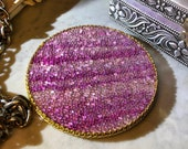 Set of 4 Glass Bead Coasters hand-stained birch in pink mauve, soft felt backing, gold metallic trim - 4 quot round