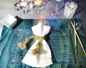 Smoke blue grey folding wood placemats / 12 x 18 - hand stained, shimmering gloss finish, gold metallic accents, felt backing