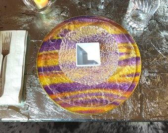 """Glass bead over """"sunset"""" purple and gold hand-stained wood chargers / round placemats -  golden gimp trim and felt backing -  12"""" diameter"""