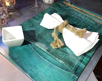 Antique Teal folding wood placemats / 12 x 18 - hand stained, shimmering gloss finish, silver metallic accents, felt backing