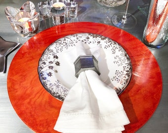 """Tangerine orange wood chargers / round placemats - shimmering gloss finish and matching felt backing -  12"""" or 14"""" diameter"""
