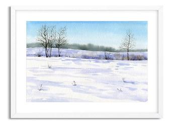 Winter Snow Landscape / Watercolor Landscape / Digital Art Print / Wall Art / Instant Download Print