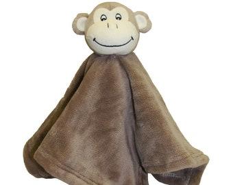 Mini Blanket,Monkeys on Soft Yellow Flannel Monkey Smiles Baby Comfy Blanket