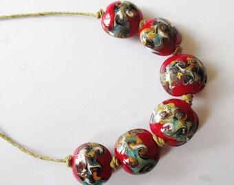 Lampwork Beads - 6 Burgundy Sage Abstract Lampwork Glass Beads, Handmade Lampwork Beads De-stash Beads