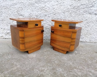 1 of 2 Vintage Bedside Table/ Mid Century/ Nightstand Storage/ Retro Night Table/ Storage Tables/ Wooden Nightstands/ Yugoslavia/ 70s