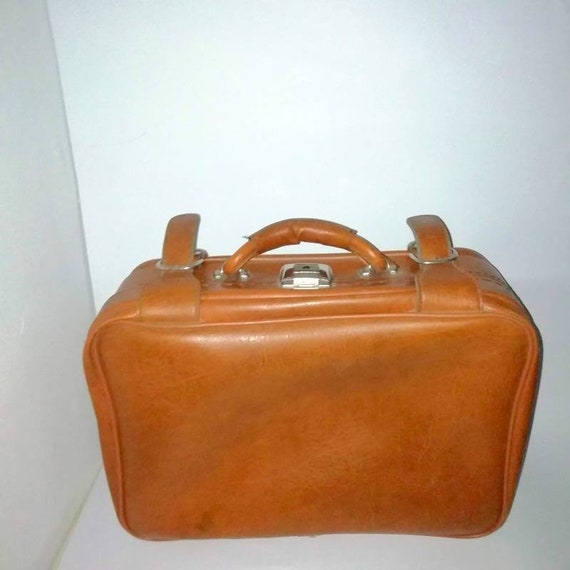 Vintage Leather Suitcase/ Brown Suitcase/ Travel S