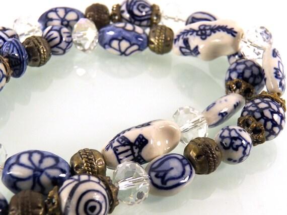 Delft Blue Necklace, Hand Paint Porcelain Bead, Du